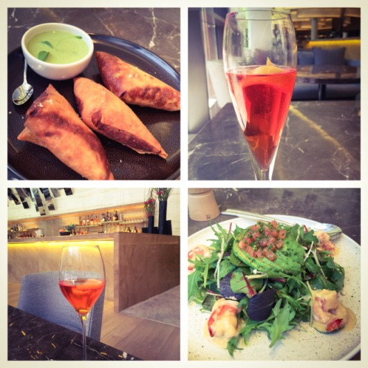 Chicken Samosas, Raspberry Bellini and shrimp salad