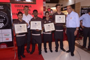 Devendra Kumar, winner of BOY by Costa Coffee 2015 along with the runners-up
