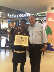 Devendra Kumar- winner of BOY by Costa Coffee 2015 with Ashish Chanana- COO, Costa Coffee, India