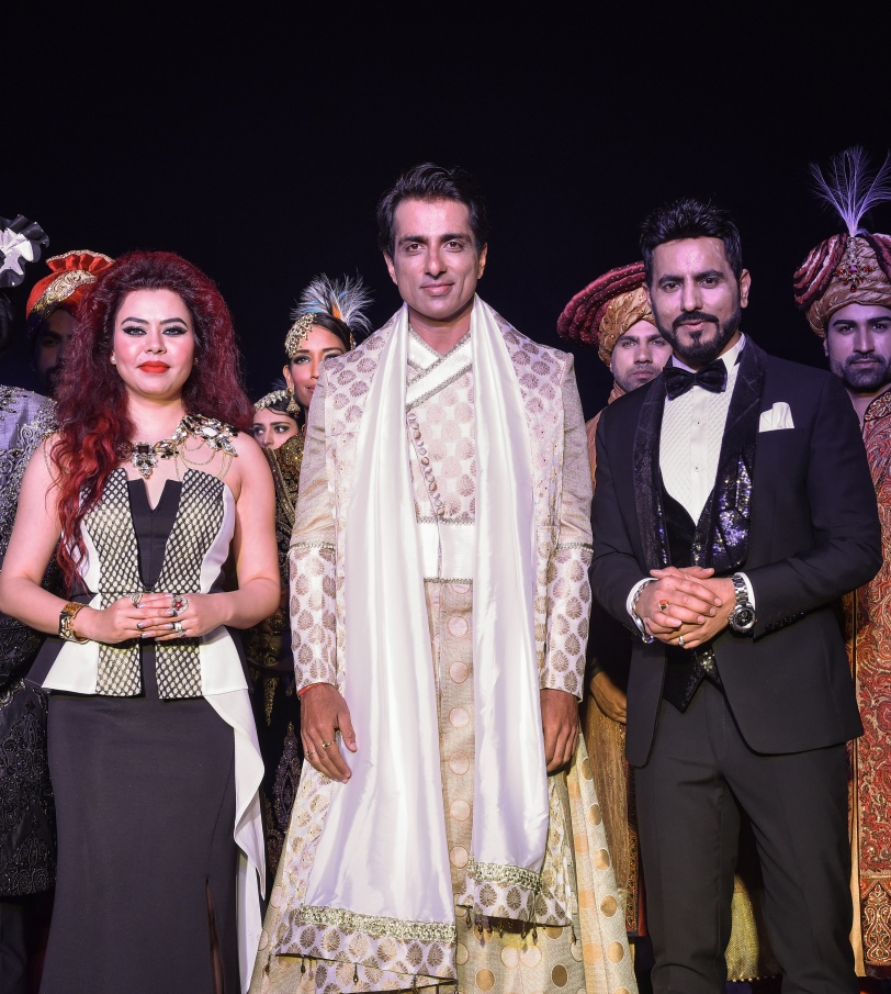 Designer Duo Bharat Reshma with Actor Sonu Sood in the  Designer's ensemble