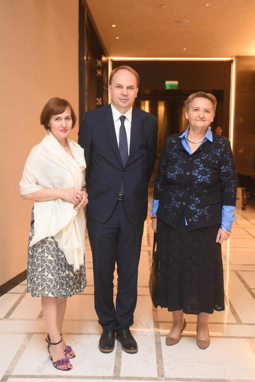 L-R, Mrs Maria Lukaszuk, HE Tomasz Lukaszuk with Ms Ewa Lech - Deputy Minister of Agriculture of the Republic of Poland
