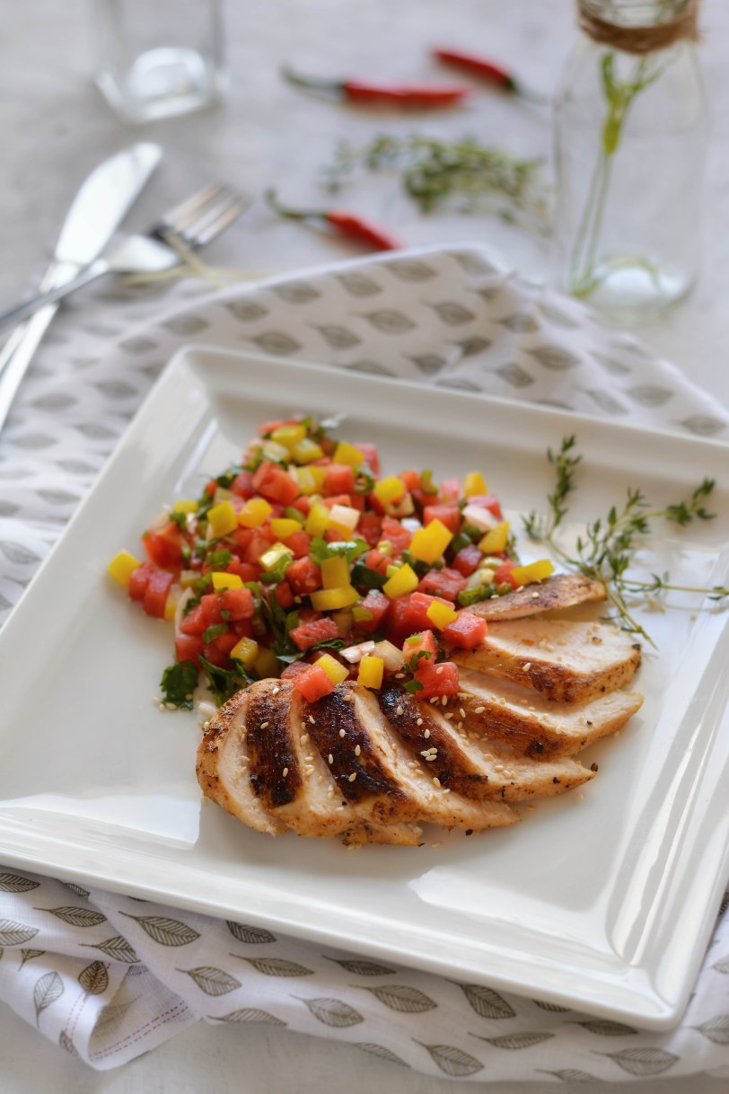 Sesame Chile Chicken with Gingered Watermelon Salsa