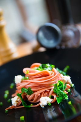 Red Wine Linguine with Dashi Cream & Ricotta