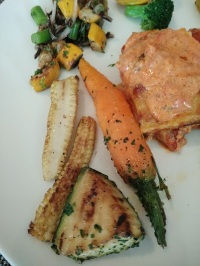 I relished the Baby Carrots, Baby corn and Zucchini tossed in Fresh herbs and oils with the Nordic Veg Lasagne